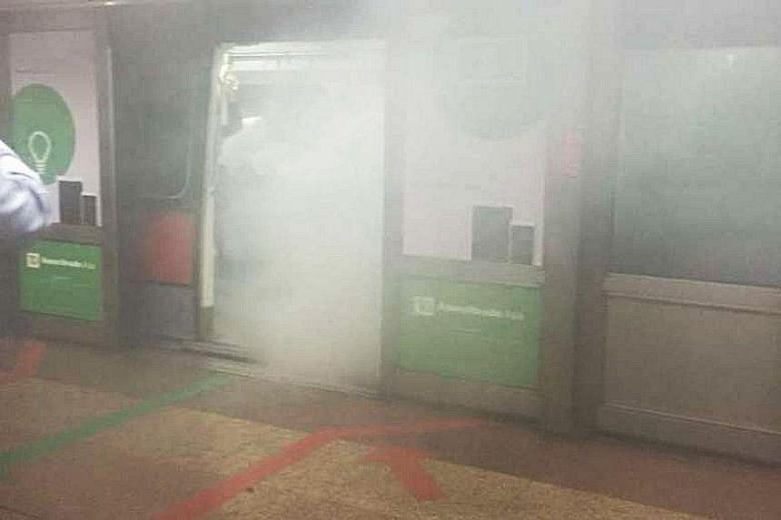 A video screengrab showing what appeared to be a smoke-filled train at Tanjong Pagar station on Monday. Investigations suggest the train's air-con compressor became overheated after an oil leak, resulting in the gas leak.