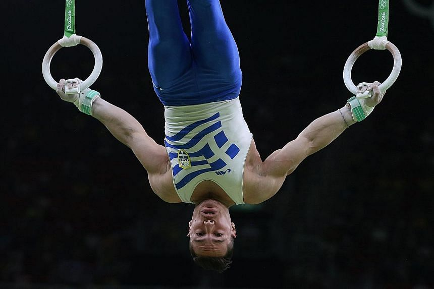 Showing flawless style and poise, Eleftherios Petrounias of Greece was the only gymnast in the rings final to hit the 16-point mark, relegating the 2012 champion Arthur Zanetti of Brazil to the silver medal on Monday.
