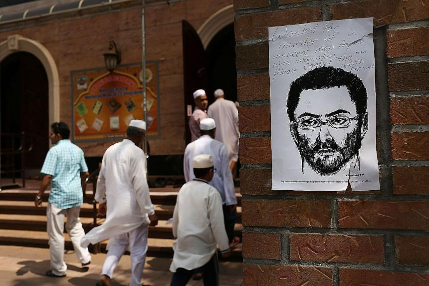 A sketch of accused killer Oscar Morel on display outside a mosque in Queens, New York, near the scene of the murders. The brutal slaying has sent shockwaves through Muslim communities in the US.