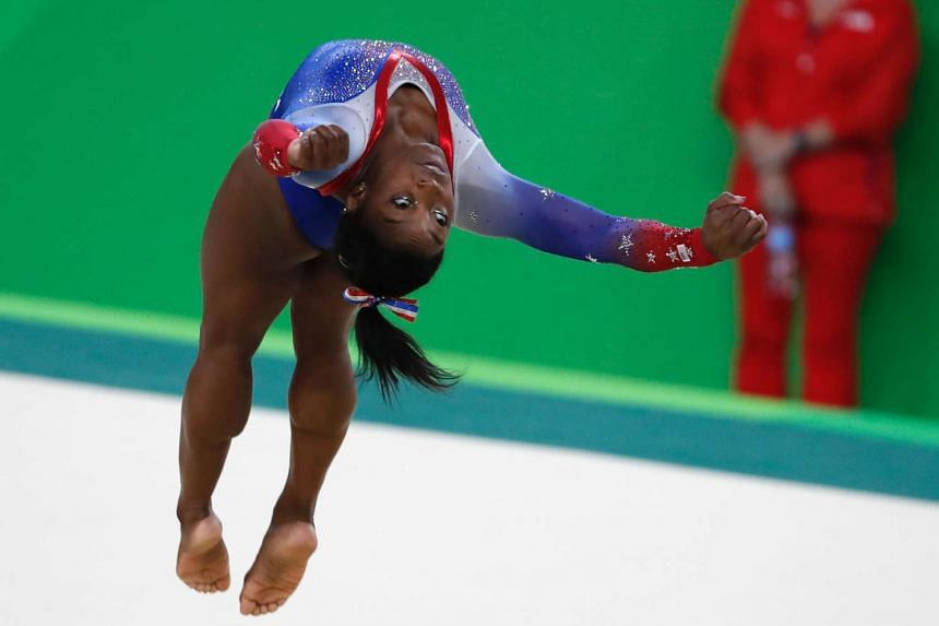 US gymnast Simone Biles competes in the women's floor event final.