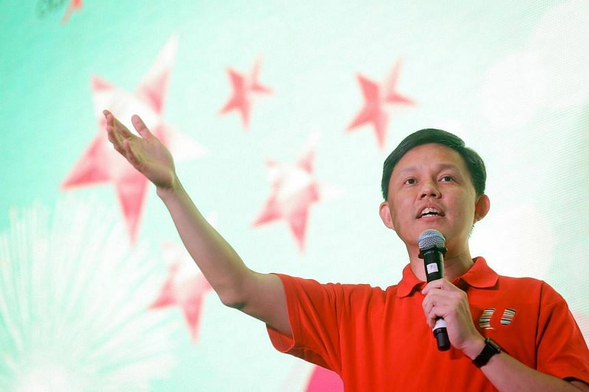 Minister in the Prime Minister's Office Chan Chun Sing giving a speech during Labour movement's National Day Observance Ceremony 2016.