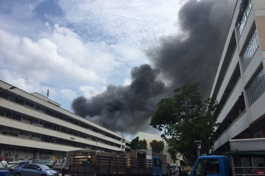 Plumes of smoke billowing from the fire in Tampines Street 92.