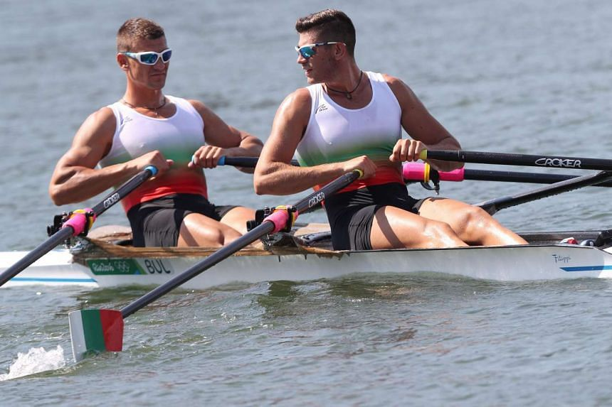 Georgi Bozhilov (left) and Kristian Vasilev of Bulgaria (right) in action during the men's double sculls heats of the Rio 2016 Olympics on Aug 6, 2016.
