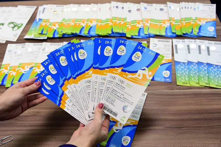 Rio Olympic Games tickets seized by Brazilian police are displayed on Aug 8, 2016.
