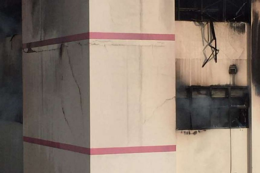 Exterior damage to the CK Building from the warehouse fire.