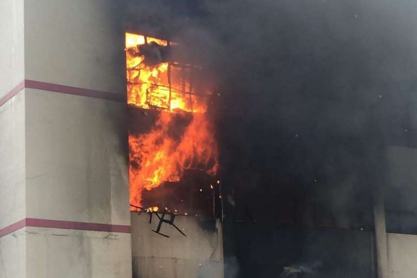 The fire was still ongoing more than an hour after it was reported.