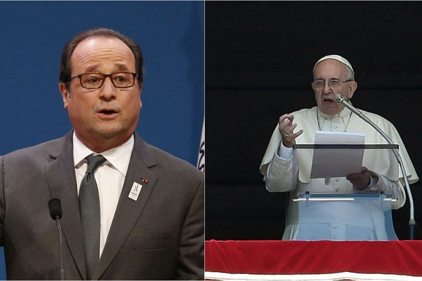 French President Francois Hollande (left) will meet Pope Francis at the Vatican on August 16.