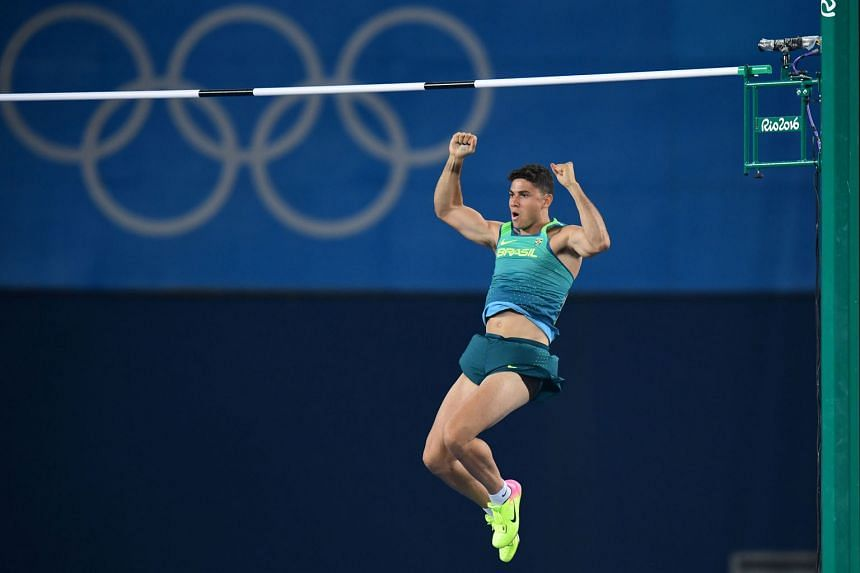 Brazil's Thiago Braz da Silva leaving his fists pumped on the way down from clearing one of his attempts in the pole vault final. He upset Frenchman Renaud Lavillenie with the backing of the partisan Rio crowd.