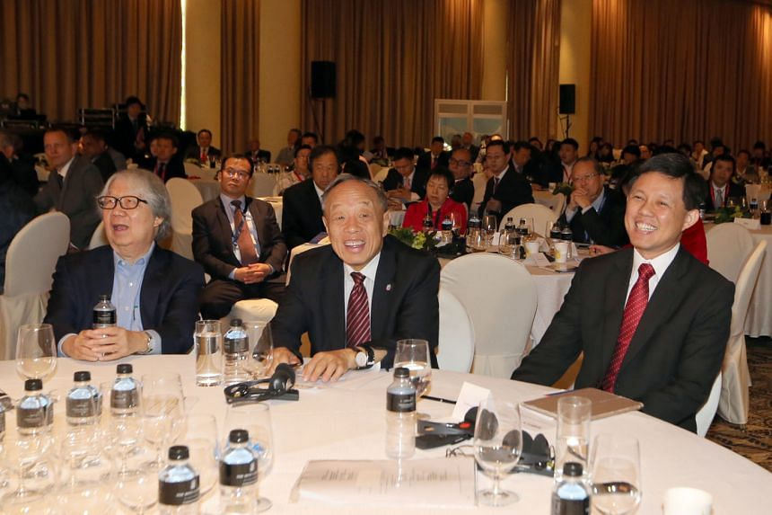 """From left: Prof Tommy Koh, Singapore's Ambassador-at-Large, Mr Li Zhaoxing, former foreign minister of China, and Mr Chan Chun Sing, Minister in the Prime Minister's Office, at the Singapore Regional Business Forum yesterday. Prof Koh noted that """"freedom"""