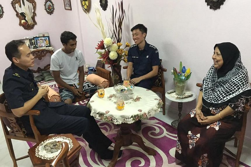 Sergeant Muhammad Hidir Bin Jamaludin (in white) was taken to hospital for heat exhaustion. He is recuperating at home.