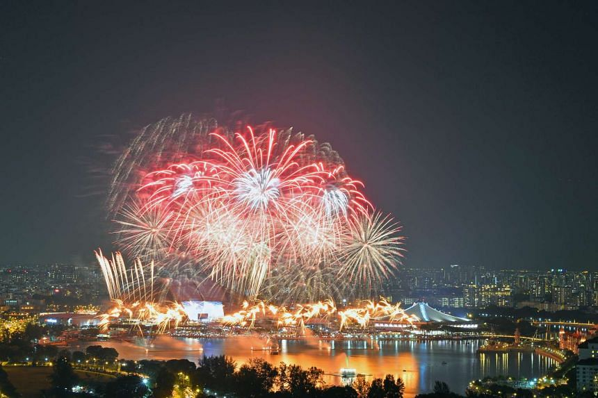 Fireworks display during the National Day Parade 2016 on Aug 9, 2016.