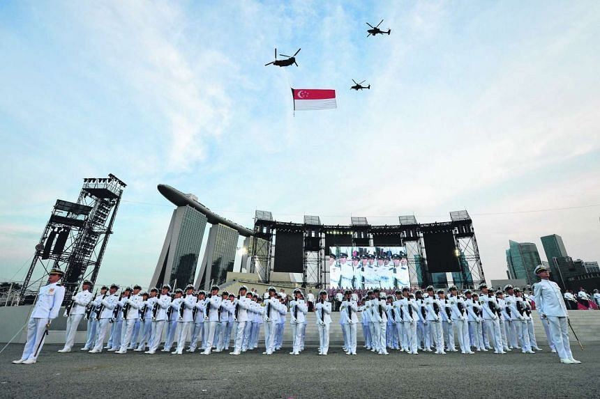 The National Day Parade National Education Show 2 held at the Marina Bay Floating Platform on July 20, 2016.