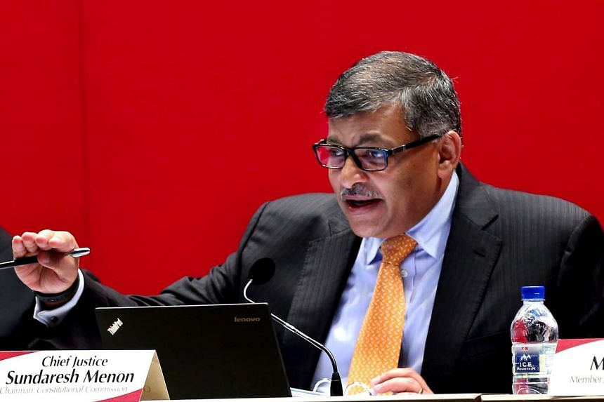 Chief Justice Sundaresh Menon at the second Constitutional Commission hearing on the elected presidency on April 22.