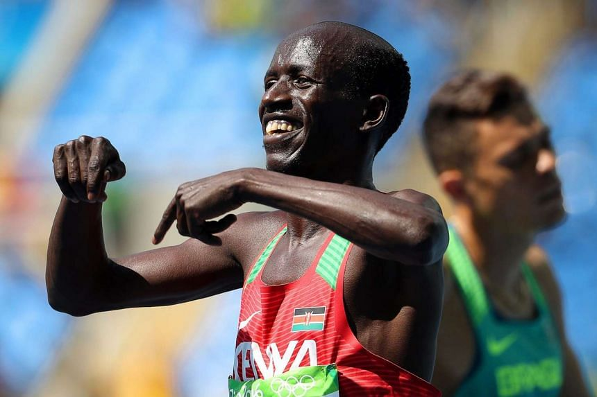 Ezekiel Kemboi of Kenya reacts after winning the bronze medal in the men's 3000m steeplechase final of the Rio 2016 Olympic Games Athletics, Track and Field events on August 17.