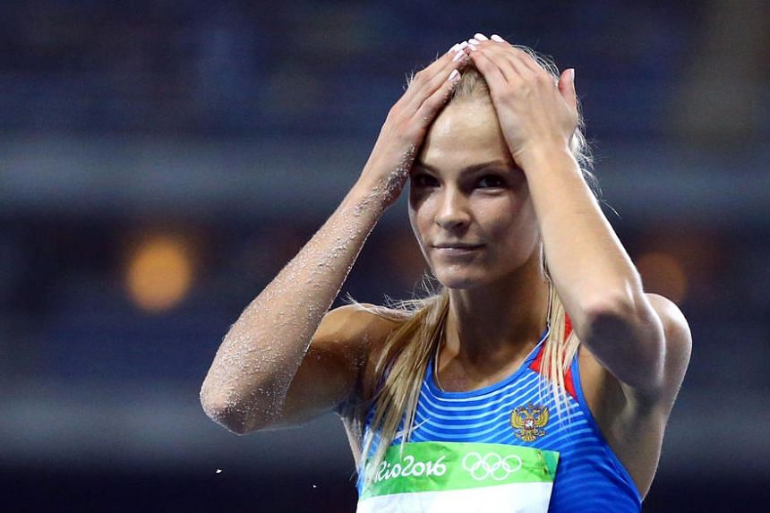 Darya Klishina of Russia reacts after the women's long jump final on August 17.