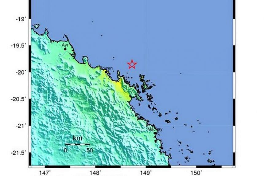 A handout shakemap released by the US Geological Survey shows the location of a 5.7-magnitude earthquake striking some 57km north-east of Bowen, Queensland, Australia, Aug 18.