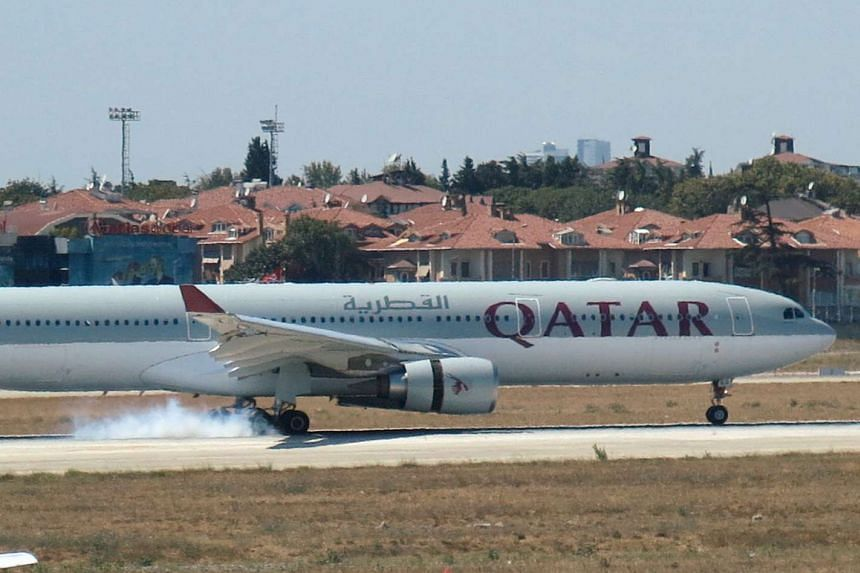 A Qatar Airways aircraft is seen after making an emergency landing at Ataturk International Airport in Istanbul, Turkey on Aug 18, 2016.