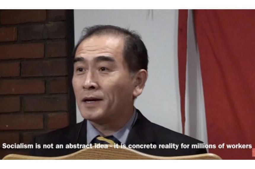 Thae Yong Ho, North Korea's deputy ambassador in London who has, according to media reports, defected with his family, speaks on a podium in London in the still image taken on Aug 17, 2016 from a file footage.