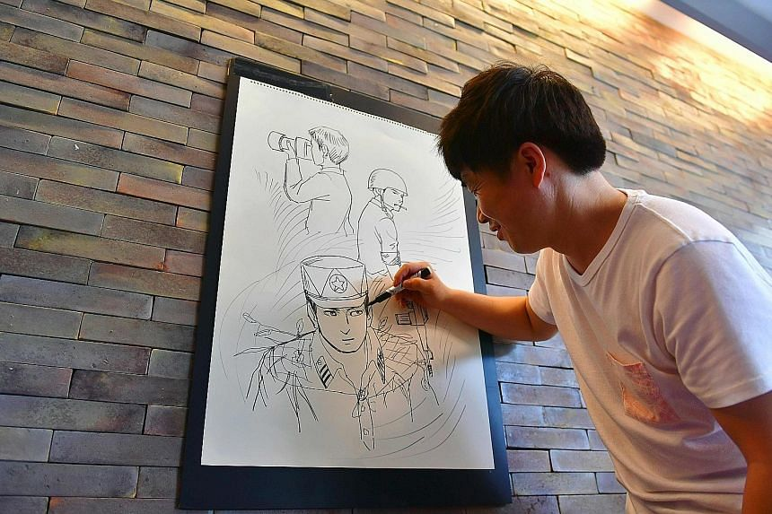 This picture taken on Aug 8 shows North Korean defector Choi Sung Guk, 36, sketching an image during the recording of a weekly YouTube video programme devoted to defector-related issues at a cafe in Seoul. When Mr Choi decided it was time to go publi