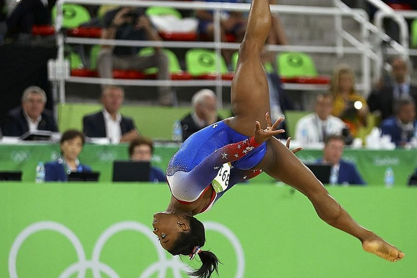 Simone Biles of the United States during Tuesday's floor exercise final, in which she scored 15.966 to win her fourth gold in a five-medal haul in Rio. She is the first woman to win four gymnastics golds in a single Olympic Games since Romania's Ecat
