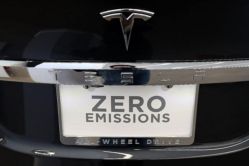 A Model X at a new Tesla flagship facility in San Francisco, California. On Monday, one of the firm's Model S sedans caught fire while undergoing a test drive in the south-western town of Bayonne in France.