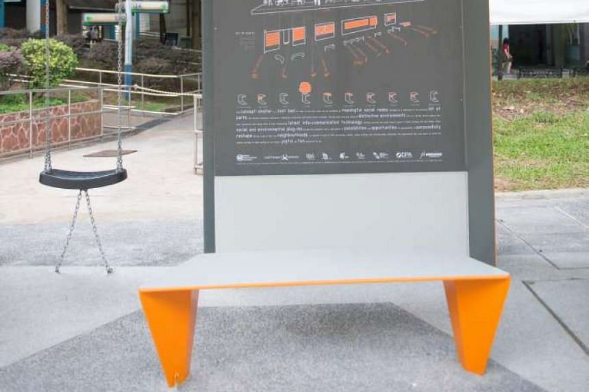 A board with information about project bus stop and commuters can sit on the swing while waiting for the bus.