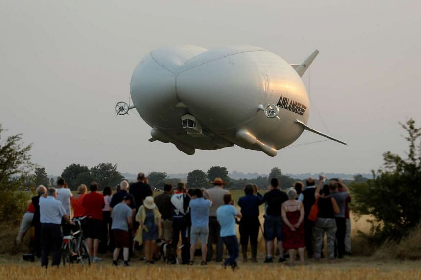 The Airlander 10 hybrid airship makes its maiden flight at Cardington Airfield in Britain, Aug 17, 2016.