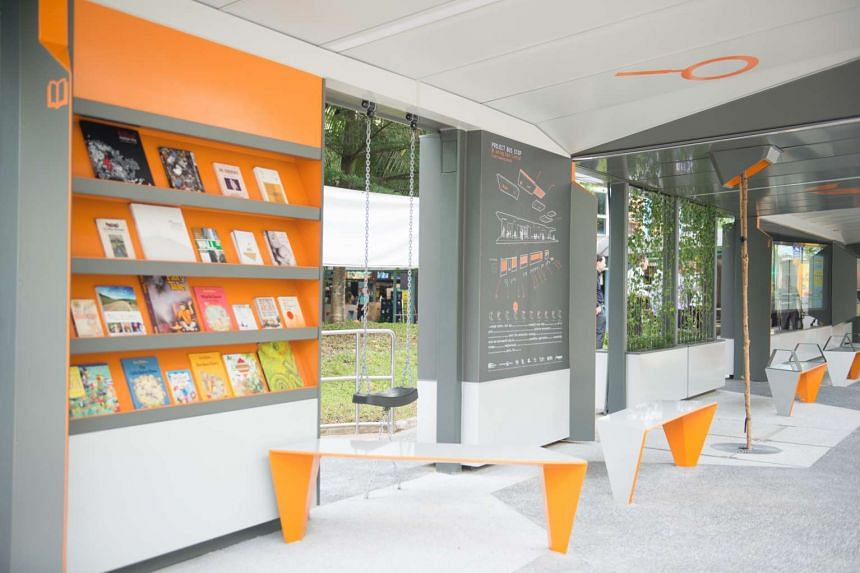 The bus stop features a book exchange corner.
