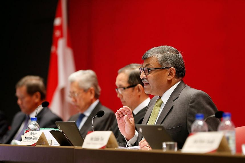 Chief Justice Sundaresh Menon (right), speaking on the third day of the Constitutional Commission hearing, held at the Supreme Court on April 26.
