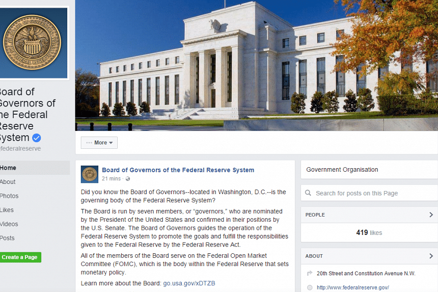 The US Federal Reserve launched a Facebook page on Thursday (Aug 18), saying that it aimed to make news and educational content more accessible to the public.