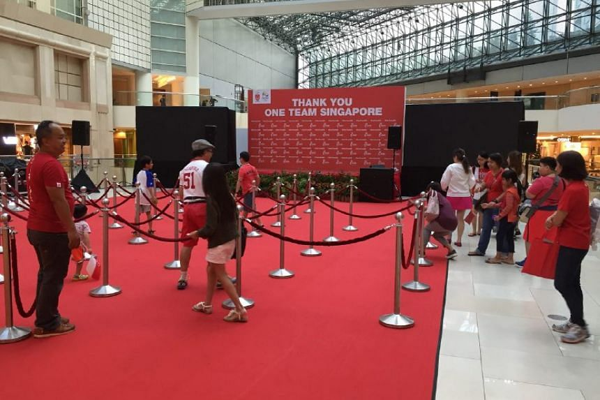Stage is set for Schooling at Raffles City Atrium, Level 3.