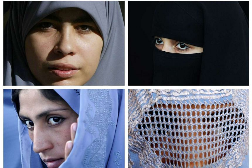 Muslim women wearing various types of Islamic veils, a Hijab (top left), a Niqab (top right) a Tchador (bottom left) and a Burqa (bottom right).