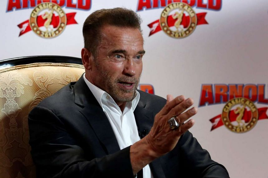 Actor and former professional bodybuilder Arnold Schwarzenegger speaks during an interview in Hong Kong, China on Aug 19.