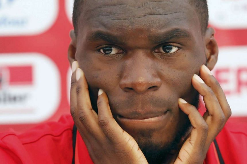 Christian Benteke attending a news conference in a file photo.