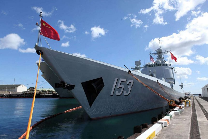 Chinese PLA Navy destroyer Xi'an docked at Joint Base Pearl Harbor Hickam before it departs to participate in military exercise RIMPAC in Honolulu on July 8.