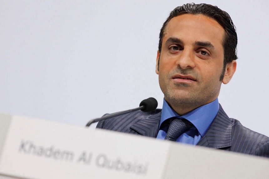 Khadem Al Qubaisi attends a news conference in Stuttgart, Germany.