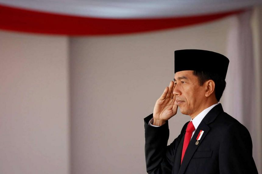 Indonesian President Joko Widodo salutes during celebrations for Indonesia's 71st Independence Day at the Presidential Palace in Jakarta.