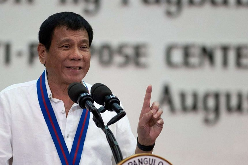 Filipino President Rodrigo Duterte speaks during the 115th Police Service Anniversary at the Philippine National Police (PNP) headquarters in Quezon City, east of Manila, Philippines on August 17.