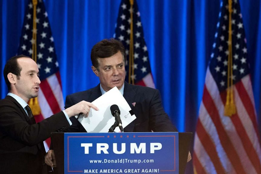 Paul Manafort checks the podium before Republican Presidential candidate Donald Trump speaks during an event at Trump SoHo Hotel on June 22, 2016 in New York City.
