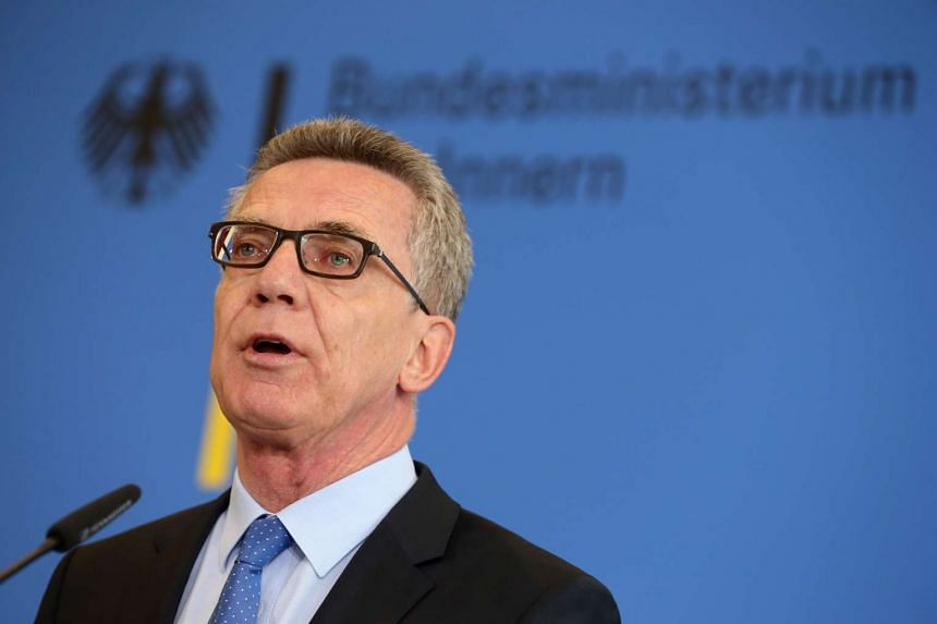 German Federal Interior Minister Thomas de Maiziere speaks at a news conference in Berlin, Germany on Aug 11, 2016.