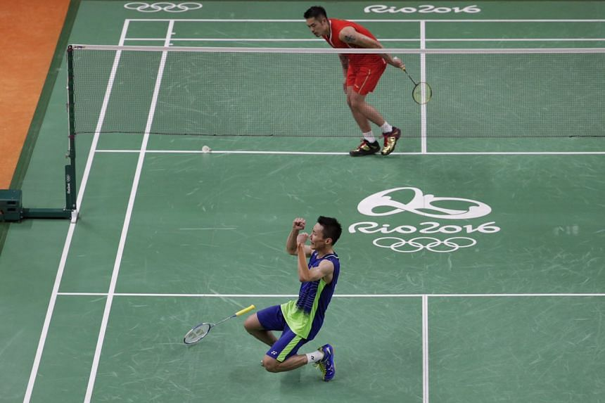Lee Chong Wei of Malaysia falling to his knees after beating Lin Dan of China during the Rio 2016 Olympic Games badminton men's semi-final at Riocentro Pavilion 4 in Rio de Janeiro on Aug 19, 2016.