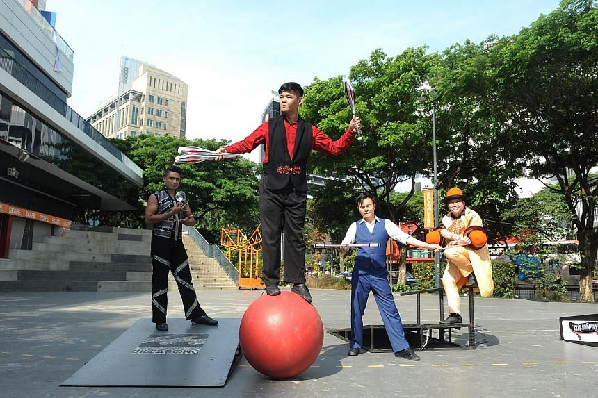 Members of Circus In Motion (from far left) Ahmed Firdaus, Benjamin Teo, Jay Che and Edward Chua.
