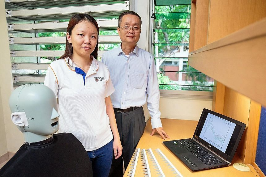Prof Lee Heow Pueh (far right) and Dr Lee Hsiao Mun and their team worked on the innovative windows. The human dummy helps create a realistic acoustic environment in experiments.