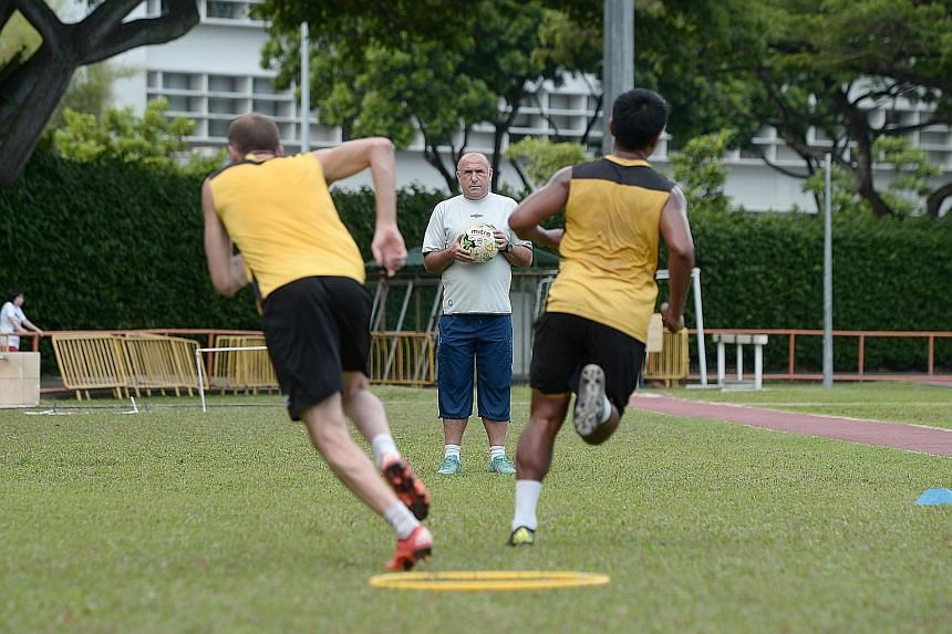 Balestier Khalsa coach Marko Kraljevic overseeing his side's preparations before facing Albirex. He is not under pressure despite the Tigers languishing near the foot of the table.
