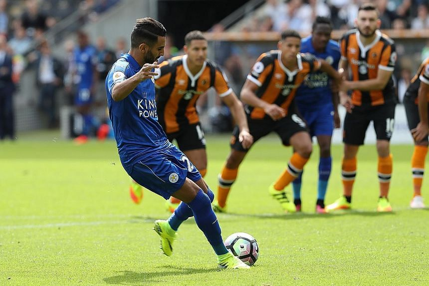 Riyad Mahrez scoring from the penalty spot in Leicester City's 2-1 defeat by Hull last weekend. The Algerian committed his future to the champions after signing a four-year contract.