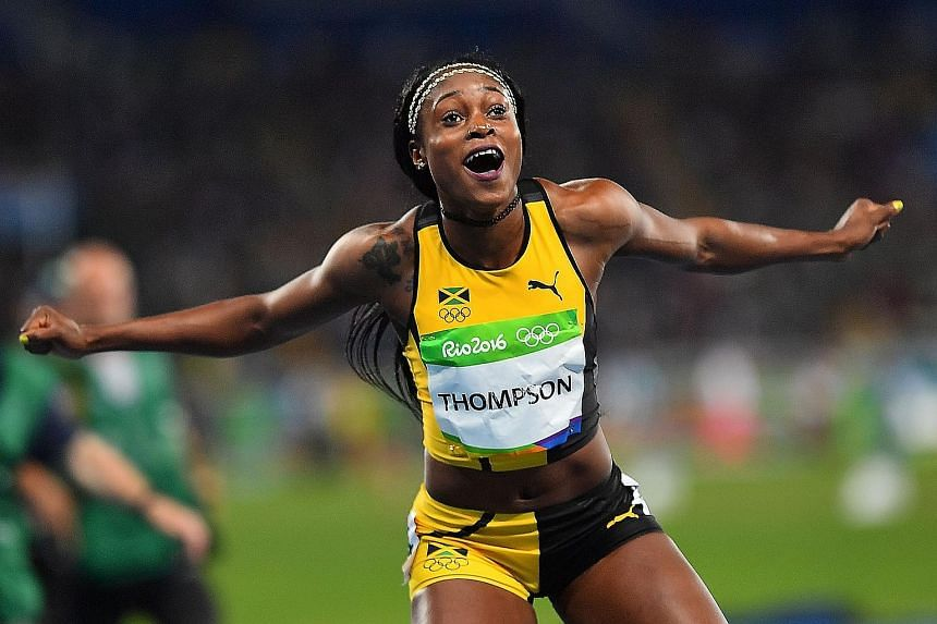 Jamaica's Elaine Thompson celebrating after winning the 200m ahead of Dutch favourite Dafne Schippers and American Tori Bowie. The previous female sprint double winner was the late, irrepressible Florence Griffth-Joyner in Seoul 28 years ago.