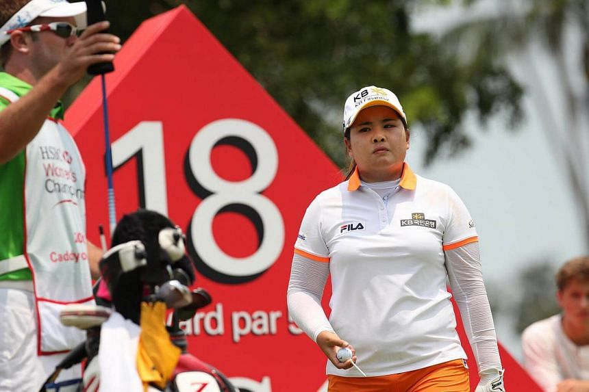 South Korea's Park In Bee preparing to tee off on the final hole during the third round of the HSBC Women's Champions at Sentosa Golf Club on March 1, 2014.