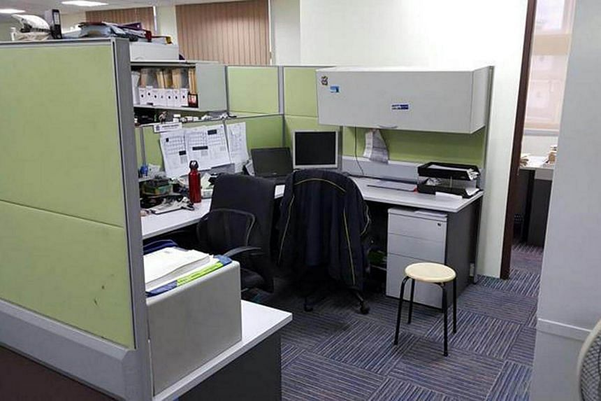 The open plan office at an Ang Mo Kio police station where an investigation officer interviewed Benjamin Lim.