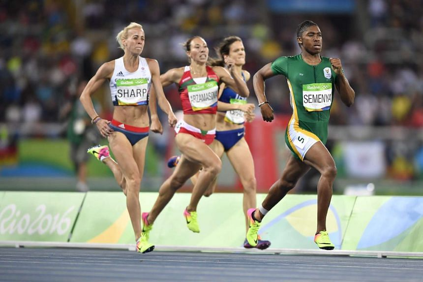 South Africa's Caster Semenya (right) competes in the women's 800m semi-final during the athletics event at the Rio 2016 Olympic Games on Aug 18, 2016.