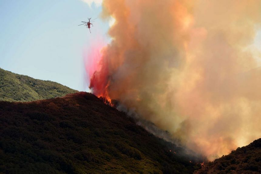 A helicopter drops fire retardant on a burning hillside in Keenbrook, California on Aug 18, 2016.